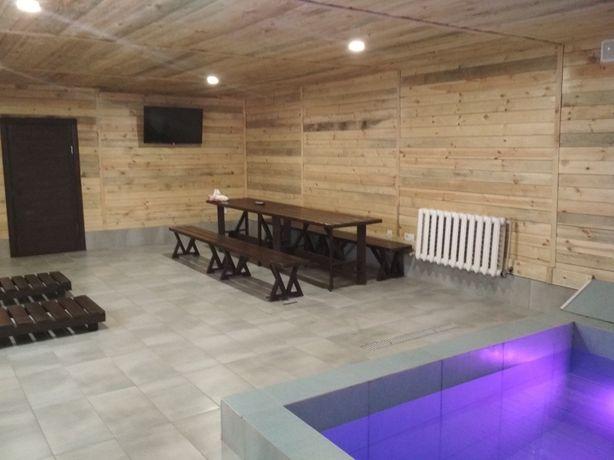 Баня с бассейном на дровах