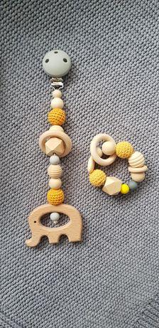 Zawieszka do wózka+gryzak. Zestaw prezentowy dla dziecka. Handmade