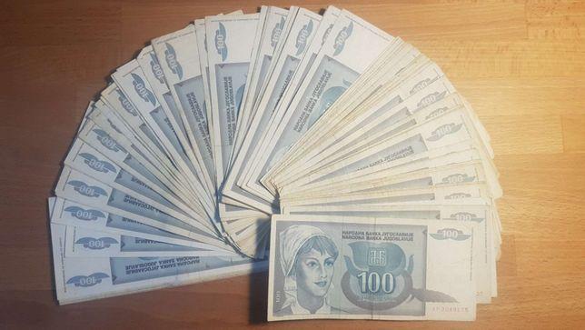 JUGOSŁAWIA plik 80 banknotów po 100 dinarów
