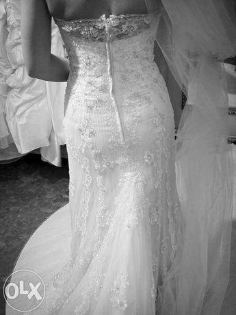 Herms Brioni suknia ślubna z trenem