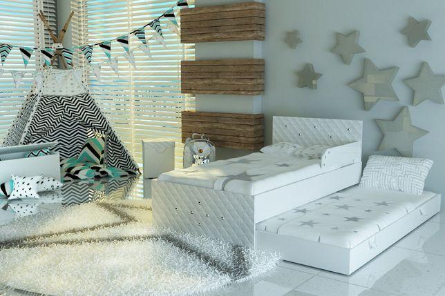 Ekskluzywne łóżko piętrowe dla dzieci z KRYSZTAŁKAMI,2 materace 10cm