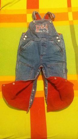 Spodnie,jeansy zimowe, ogrodniczki ocieplane roz. na 2 latka Stan bdb