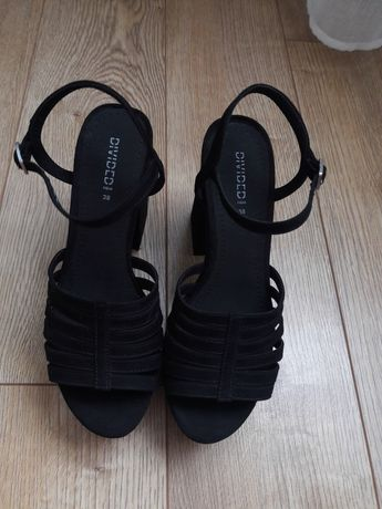 Zamszowe sandały H&M na grubym słupku 38