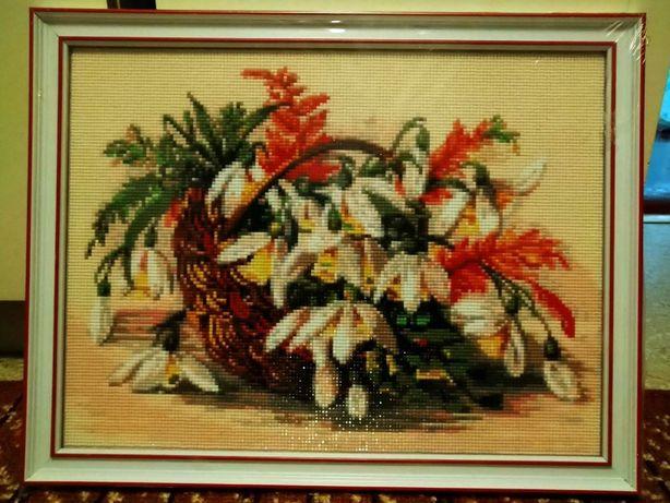 Готовая картина алмазная мозаика Цветы в лукошке