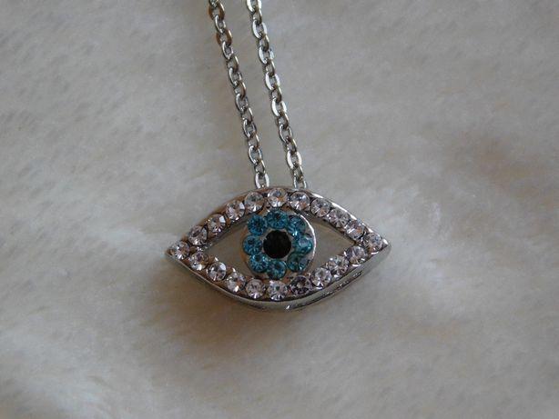 NOWY łańcuszek z zawieszką - niebieskie oko