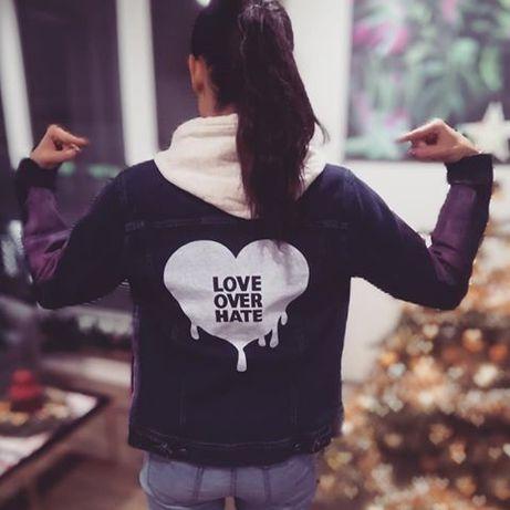 Zara Mex unikat kurtka jeansowa L , przecierana, ombre Love over hate.