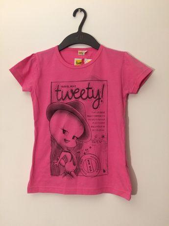 koszulka różowa tweety 134 cm wyprzedaż szafy