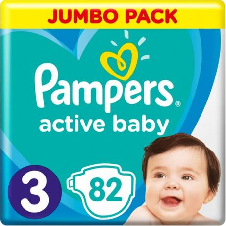 Pampers Подгузники Active Baby 3 Midi (6-10кг) 82шт трусики памперс