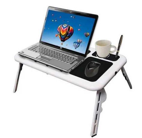 Складаний столик-підставка для ноутбука з кулером E-Table  Чорно-білий