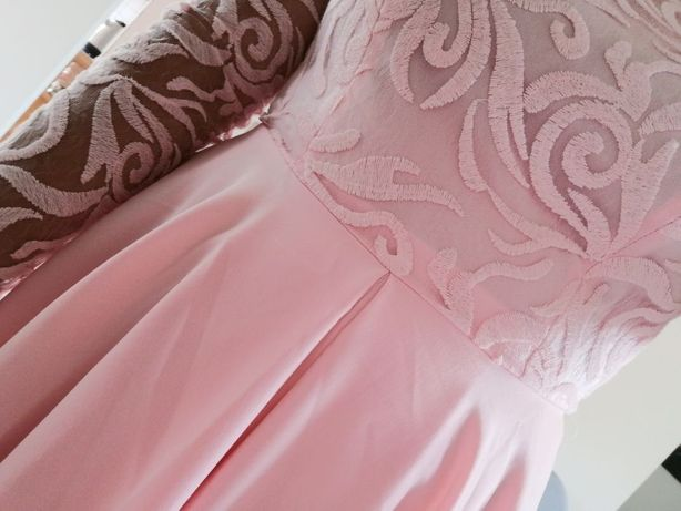 Sukienka z koronką jasny róż wesele komunia