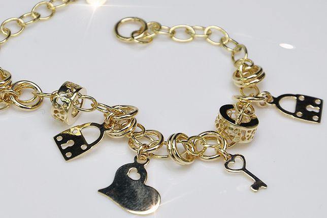 Złota bransoletka włoska żółte złoto charmsy cb113 B