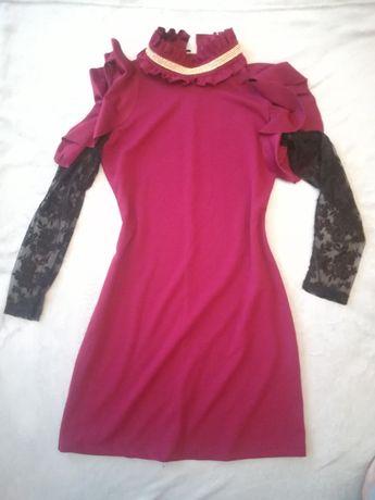 Sukienka z kołnierzem, bordowa L rękawy koronkowe