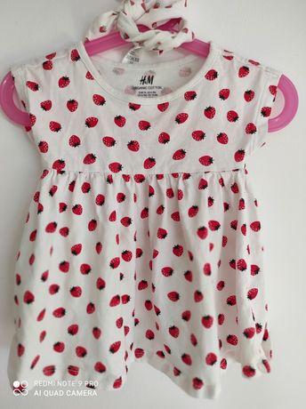 Sukienka H&M w truskawki komplet z opaską r.74