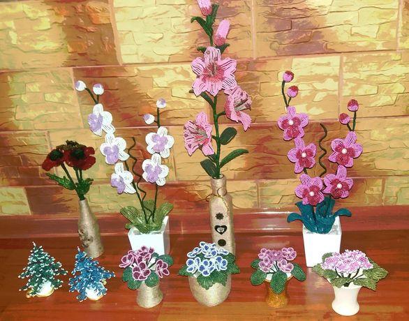 Цветы из бисера ручной работы.