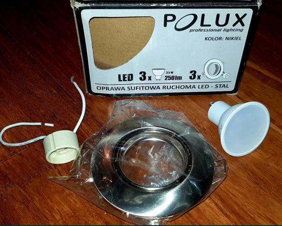 NOWA oprawa oczko OLIN -nikiel,okrągłe LED POLUX+ żarówka +GU10 oprawa