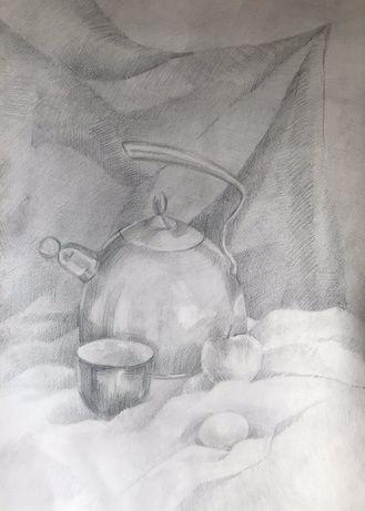 Натюрморт с чайником 42/50.Бумага карандаш,без рамки.