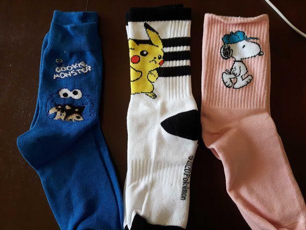 Meias (Pokemon / Cookie Monster / Snoopy)