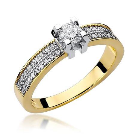 ZŁOTY pierścionek wysadzany brylantami