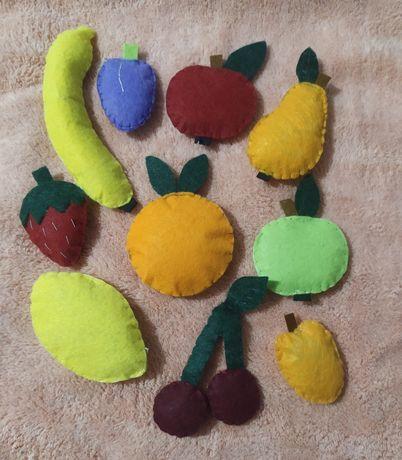 Овочі і фрукти з фетру ,вивчаєм кольори , Розвивашка для ваших діточок