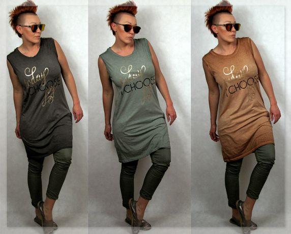 Nowość włoska tunika/sukienka cieniowana kolory ziemi M/L PROMOCJA
