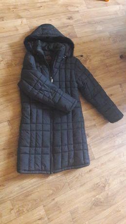 Zimowy czarny płaszcz rozm l