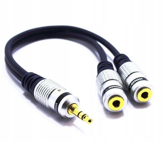 Trójnik aux Jack 3,5 wtyk 2X gniazdo VITALCO kabel