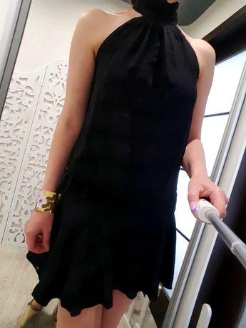 Платье черное вечернее s/m мини с открытыми плечами италия клетка