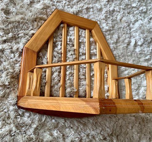 Półka Kwietnik drewniany dębowy ręcznie wykonany komplet 5 szt