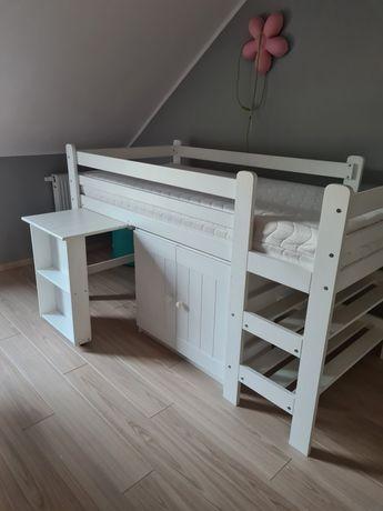 Łóżko piętrowe z biurkiem i szafka