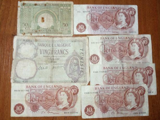 Боны мира Французский Марокко 1949, Фр Тунис 1941, 10 шиллингов Англии