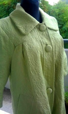 płaszczyk seledynowy wczesna jesień 40/42 na styl retro