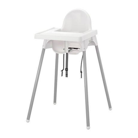 Детский стульчик IKEA ANTILOP высокий с поддончиком серебро
