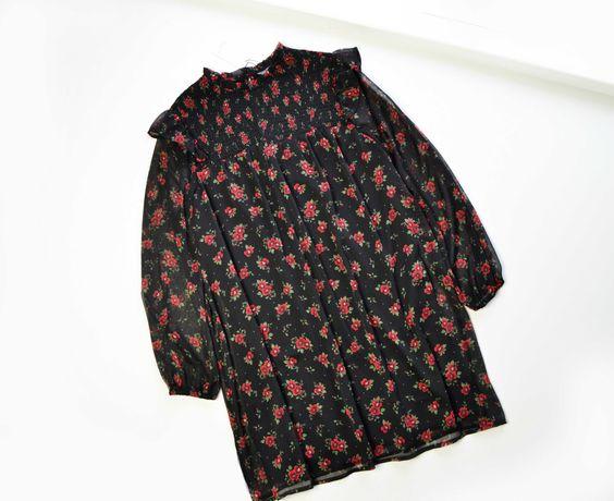 Свободное шифоновое платье в цветы