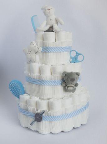 Tort z pieluszek pampers premium care 2 prezent baby shower chrzest