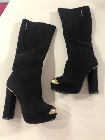KOZAKI zamsz piękne buty 38 złote okucia