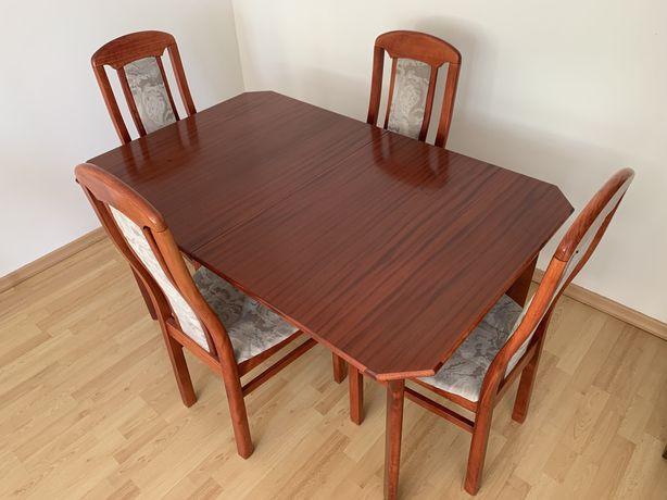 Stół drewniany rozkladany + 4  krzesła komplet