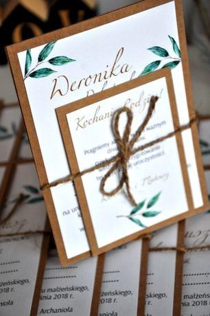 Zaproszenie rustykalne-Liście Eukaliptusa