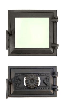 Чугунная дверца со стеклом для печи и камина, топочная печная дверка