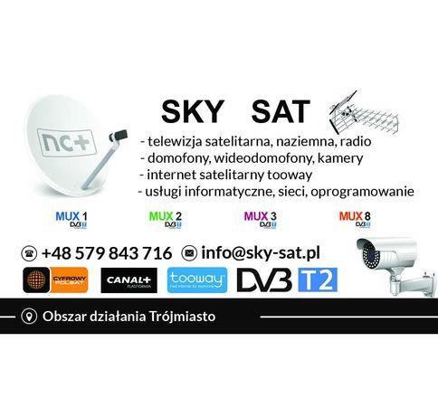 Montaż i Naprawa Anten Telewizyjnych SAT DVB-T2   INTERNET SATELITARNY