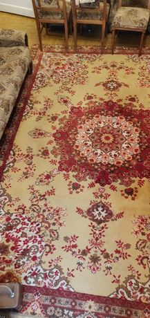 Wełniany duży dywan czerwony beżowy 345x250