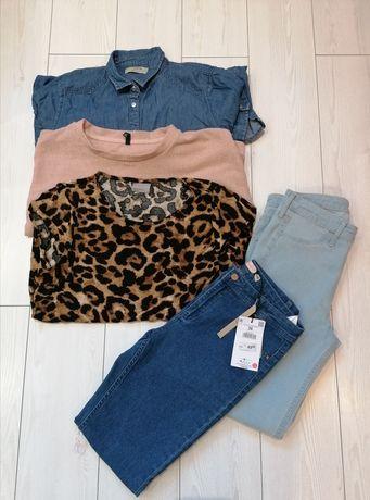 Zestaw ubran r.S spodnie, bluzka,kurtka, torebka. Zara, Cropp, H&M
