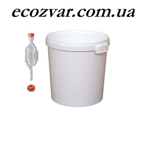 Емкость пищевая 33л с гидрозатвором для брожения
