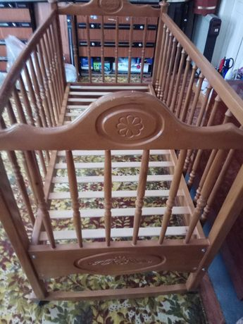 Кроватка - качалка натур. дерево бук,  ТМ Веселка