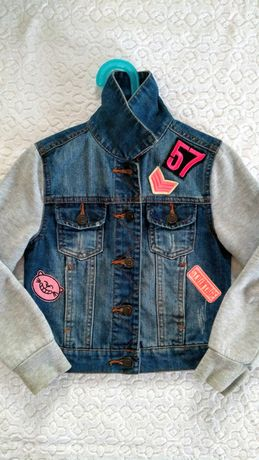 Kurtka jeansowa - katana, rękawy z dzianiny, rozm. 128 + gratis