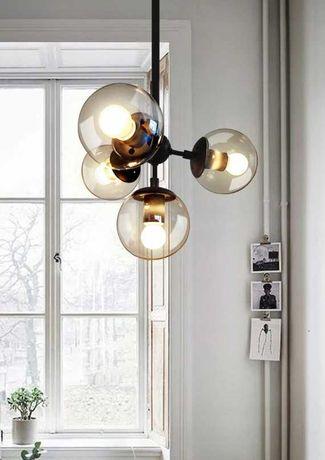 Lampa wisząca sufitowa 4 kule czarna metal LOFT Industrial