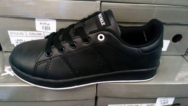 Adidasy unisex nowe buty sportowe biała podeszwa czarne r. 36,37,38