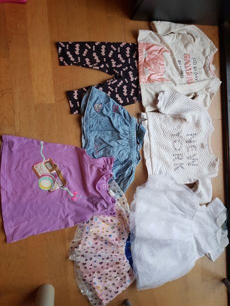 Paka ciuszków dla dziewczynki 80-86+ płaszcz, sukienka i śpiworek grat