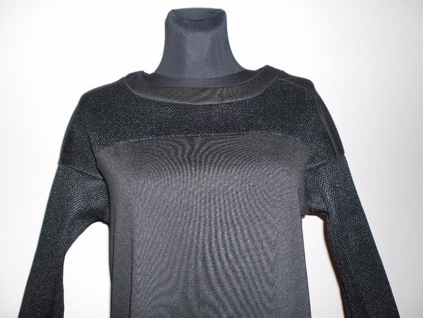 Nowa włoska czarna bluzka bluza ażur - siateczka rękaw one size