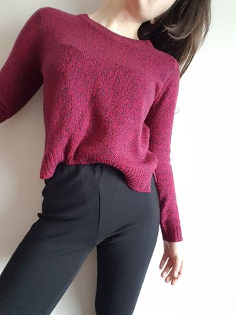 sweter sweterek melanż różowy czerwony granatowy oversize bluza XS S