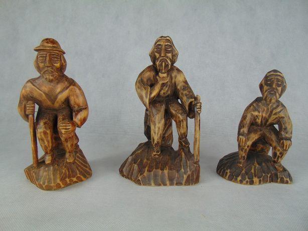 Komplet rzezba goral figurka drewniana